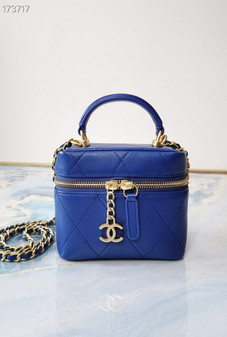 Chanel Miniature Vanity Case Bag 14CM Lambskin Leather Gold Hardware Spring/Summer 2021 Collection, Electric Blue