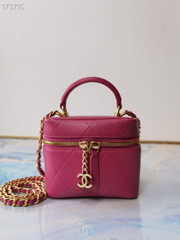 Chanel Miniature Vanity Case Bag 14CM Lambskin Leather Gold Hardware Spring/Summer 2021 Collection, Hot Pink