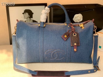 Chanel Denim Duffle Bag 48cm Gold Hardware Denim Canvas/Calfskin Leather Spring/Summer 2021 Collection,  Blue
