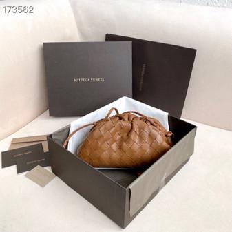 Bottega Veneta Woven The Mini Pouch Shoulder Bag 22cm Calfskin Leather Spring/Summer 2021 Collection, Tan