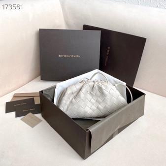 Bottega Veneta Woven The Mini Pouch Shoulder Bag 22cm Calfskin Leather Spring/Summer 2021 Collection, White