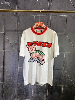 Gucci Cat Graphic Print Oversized T-Shirt Unisex Fall/Winter 2020 Collection, White
