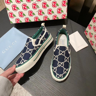 Gucci 1977 Slide On Sneakers Spring/Summer 2021 Collection, Navy Blue