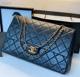 Chanel XXL Travel Bag 53CM AS99458 Gold Hardware Crumpled Calfskin Leather Fall/Winter 2020 Collection, Black