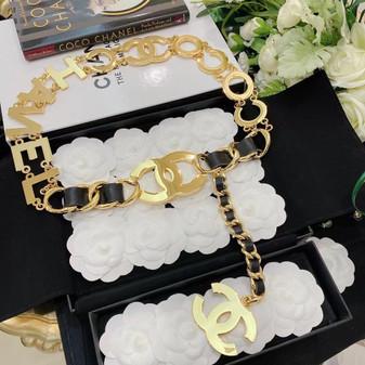 Vintage Chanel Logo Chain Link Waist Belt Gold Hardware 85CM, Gold