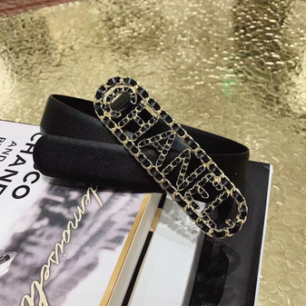 Chanel Woven Buckle Belt 3CM Gold Hardware Calfskin Leather Fall/Winter 2020 Collection,  Black