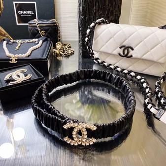 Chanel Embellished CC Logo Buckle Waist Belt 3CM Gold Hardware Calfskin Leather Fall/Winter 2020 Collection,  Black