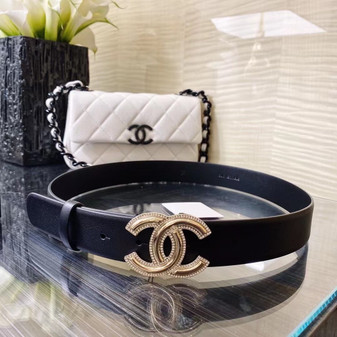 Chanel Embellished CC Buckle Belt 4CM Gold Hardware Calfskin Leather Fall/Winter 2020 Collection,  Black