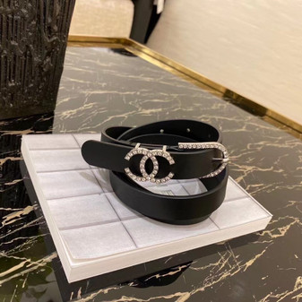Chanel Rhinestone Embellished CC Buckle Belt 2CM Silver Hardware Calfskin Leather Fall/Winter 2020 Collection,  Black