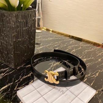 Celine Buckle Belt 2CM Gold Hardware Calfskin Leather Fall/Winter 2020 Collection,  Black