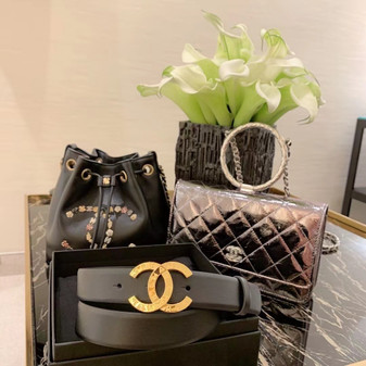 Chanel   CC Buckle Belt 3CM Gold Hardware Calfskin Leather Fall/Winter 2020 Collection,  Black