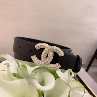 Chanel Rhinestone Embellished CC Buckle Belt 3CM Silver Hardware Calfskin Leather Fall/Winter 2020 Collection,  Black
