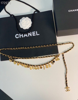 Chanel Embellished Charm Waist Chain Belt 95CM Silver Hardware Calfskin Leather Fall/Winter 2020 Collection,  Black