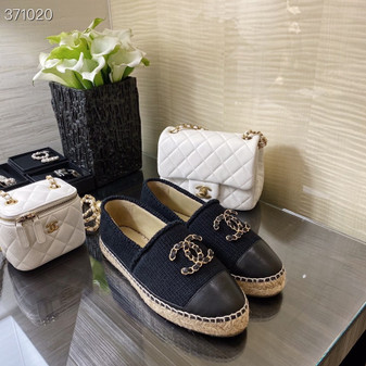 Chanel Wool Knit Espadrilles Lambskin Leather Spring/Summer 2021 Collection, Black