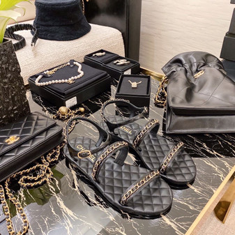 Chanel Strappy Chain Embellished Sandals Lambskin Leather Spring/Summer 2021 Collection,  Black