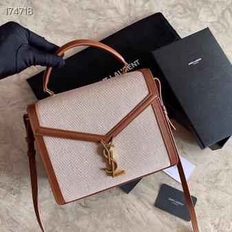 YSL Saint Laurent Cassandra Top Handle Shoulder Bag 24cm Canvas/Calfskin Leather, Tan