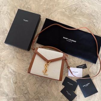 YSL Saint Laurent Cassandra Top Handle Shoulder Bag 20cm Canvas/Smooth Calfskin Leather, Tan
