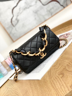 Chanel Leather Entwined Chain Bag  23cm AS2388 Lambskin Leather Gold Hardware Spring/Summer 2021 Collection, Black