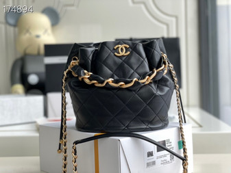 Chanel Leather Entwined Chain Bag 23cm AS2425 Lambskin Leather Gold Hardware Spring/Summer 2021 Collection, Black