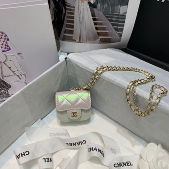 Chanel AirPod Pro Case on Chain 8cm AS88893 Lambskin Leather Gold Hardware Spring/Summer 2021 Collection, Pearl White