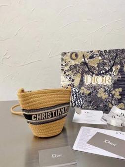 Christian Dior Wicker Basket Bag 15cm Gold Hardware Spring/Summer 2021 Collection, Navy Blue