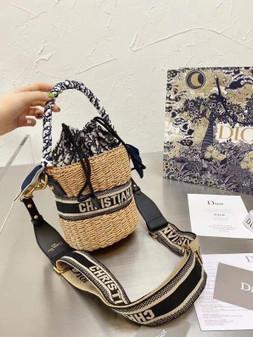 Christian Dior Wicker Bucket Bag 18cm Gold Hardware Spring/Summer 2021 Collection, Navy Blue