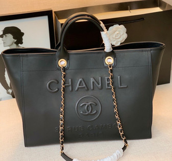 Chanel Deauville Tote Bag 40cm Calfskin Canvas Spring/Summer 2021 Collection, Black