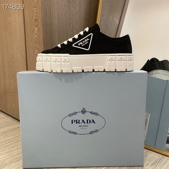 Prada Lug Sole Canvas Sneakers Spring/Summer 2021 Collection, Black/White