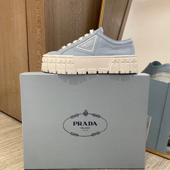 Prada Lug Sole Canvas Sneakers Spring/Summer 2021 Collection, Light Blue/White