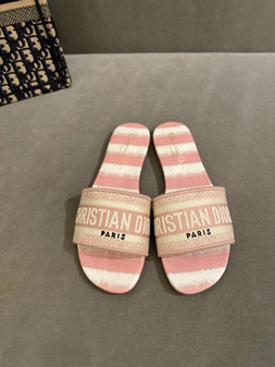 Christian Dior DWAY D-Stripes Embroidery Canvas Sandals Spring/Summer 2021 Collection,  Pink/Cream