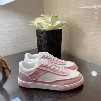 Chanel Trainer Sneakers Canvas/Lambskin Leather Spring/Summer 2021 Collection, White/Pink