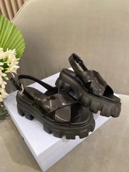 Prada Lug Sole Canvas Sandals Spring/Summer 2021 Collection, Black