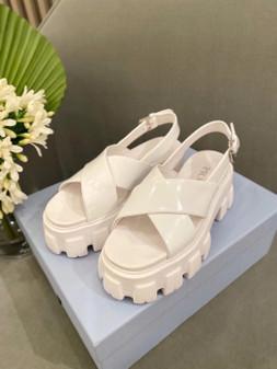 Prada Lug Sole Canvas Sandals Spring/Summer 2021 Collection, White