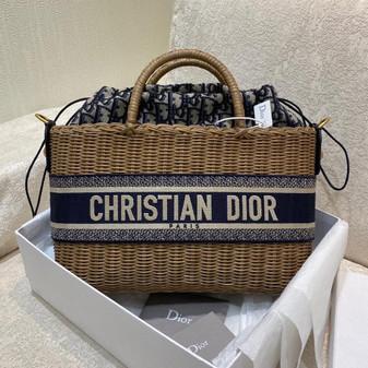 Christian Dior Wicker Basket Bag 28cm  Gold Hardware Spring/Summer 2021 Collection, Navy Blue