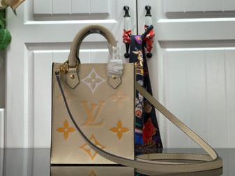 Louis Vuitton Sac Plat 20cm Monogram Empreinte Leather Spring/Summer 2021 Collection M80449, Cream/Saffron