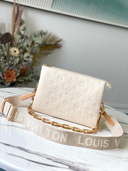 Louis Vuitton Coussin PM Bag 26cm Monogram Embossed Puffy Lambskin Leather Spring/Summer 2021 Collection M57793, Cream