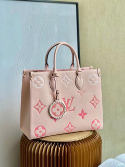 Louis Vuitton By The Pool OnTheGo MM Bag 35cm Monogram Empreinte Canvas Leather Spring/Summer 2021 Collection M45717, Rosebud