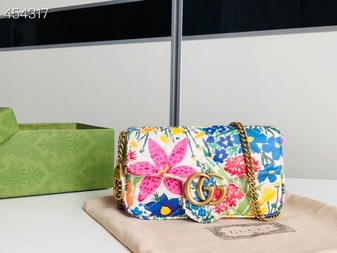 Gucci Ken Scott Mini Marmont Shoulder Bag 16cm 476433 Calfskin Leather Spring/Summer 2021 Collection, Floral