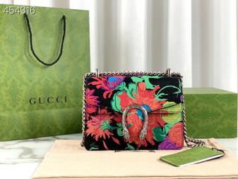 Gucci Ken Scott Small Dionysus Shoulder Bag 20cm 400249 Calfskin Leather Spring/Summer 2021 Collection, Floral Black