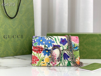 Gucci Ken Scott Mini Dionysus Shoulder Bag 20cm  400249 Calfskin Leather Spring/Summer 2021 Collection, Floral White