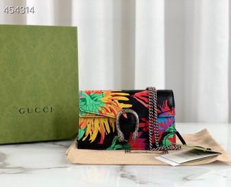 Gucci Ken Scott Mini Dionysus Shoulder Bag 20cm  400249 Calfskin Leather Spring/Summer 2021 Collection, Floral Black