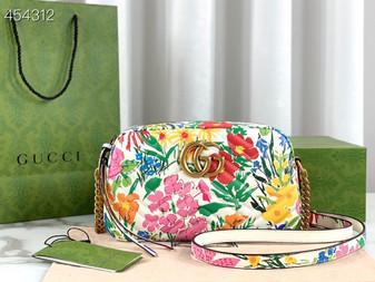 Gucci Ken Scott Small Matelasse Shoulder Bag 20cm 447632 Calfskin Leather Spring/Summer 2021 Collection, Floral White