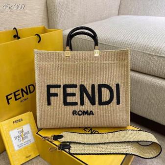Fendi Sunshine Shopper Tote Bag 35cm Straw Canvas Spring/Summer 2021 Collection, Beige