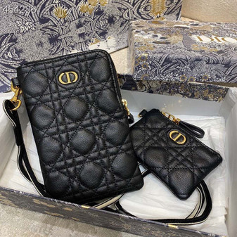 Christian Dior Caro Multifunction Pouch Bag.18cm Calfskin Leather Spring/Summer 2021 Collection, Black