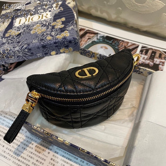 Christian Dior Caro  Multifunction Pouch Bag.12cm Calfskin Leather Spring/Summer 2021 Collection, Black