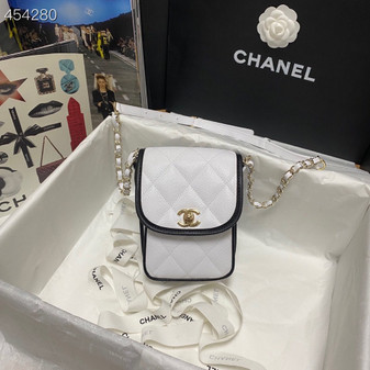 Chanel Round Flap Bag 18cm Grained Leather Spring/Summer 2021 Collection, White/Black