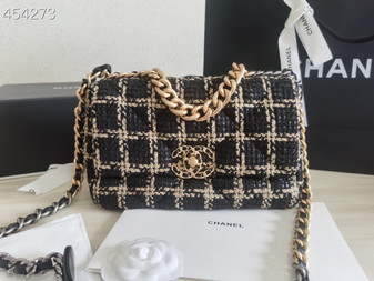 Chanel 19 Flap Bag 26cm Tweed/Goatskin Leather Spring/Summer 2021, Black/Gold