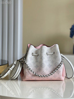 Louis Vuitton Bella Bucket Bag 22cm Mahina Calfskin  Leather Spring/Summer 2021 Collection M57856, Gradient Pink
