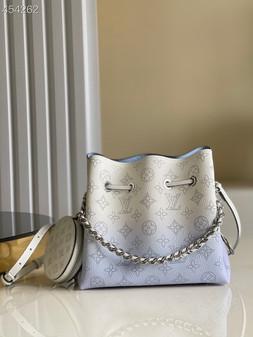 Louis Vuitton Bella Bucket Bag 22cm Mahina Calfskin  Leather Spring/Summer 2021 Collection M57856, Gradient Blue