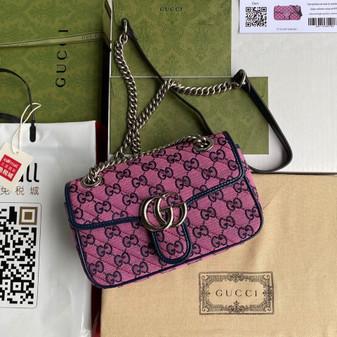 Gucci Marmont Matelasse Shoulder Bag 22cm 443497 Canvas/Calfskin Leather Spring/Summer 2021 Collection, Pink Multicolor
